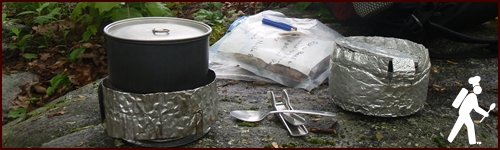 Cooking a backpacking meal.