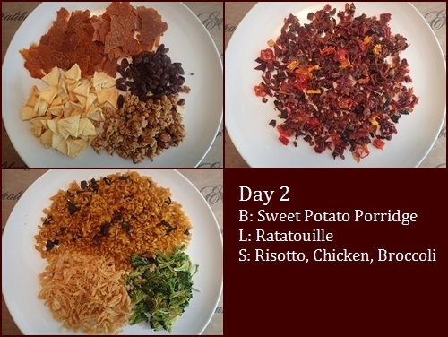 Backpacking Meals: Sweet Potato Porridge, Ratatouille, Risotto