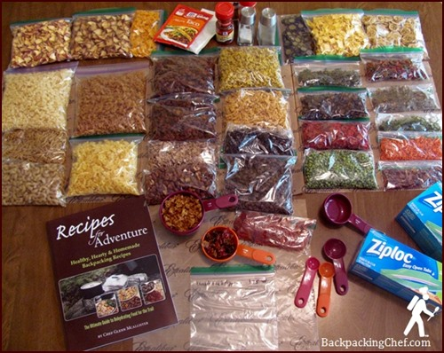Dried Food Ready to be Assembled into Backpacking Meals.