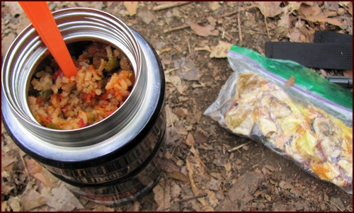 Backpacking Meal: Unstuffed Peppers cooked in Thermos Food Jar for Lunch.