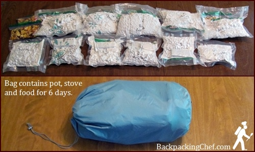 Backpacking Food and Meals Vacuum Sealed and Stowed in Food Bag.