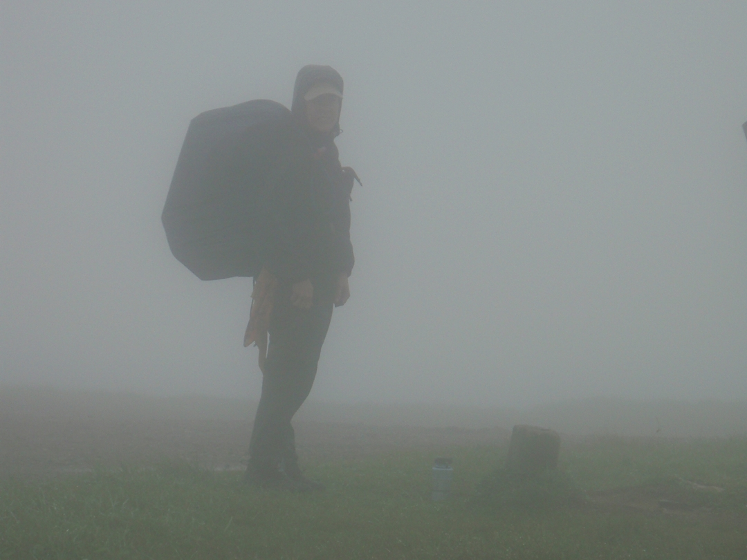 Bald Mountain, Appalachian Trail on the Tennessee-North Carolina line. Kendra in the fog.