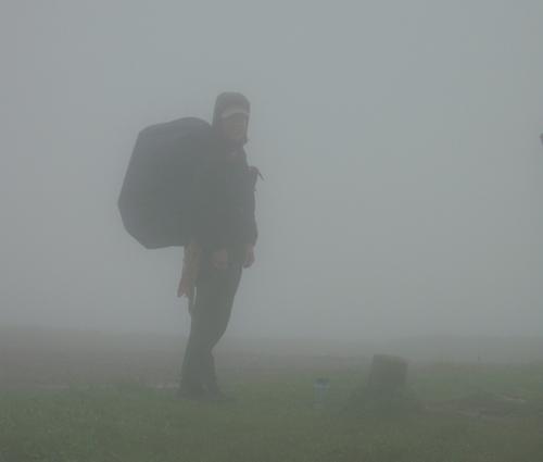 Kendra in the fog on Bald Mountain, Appalachian Trail