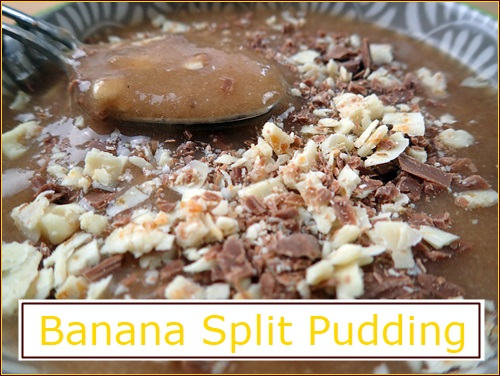Banana Split Pudding with added chocolate pieces.