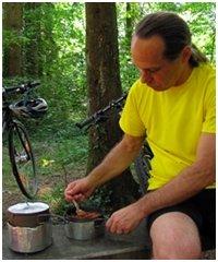 Chef Glenn cooking backpacking food.