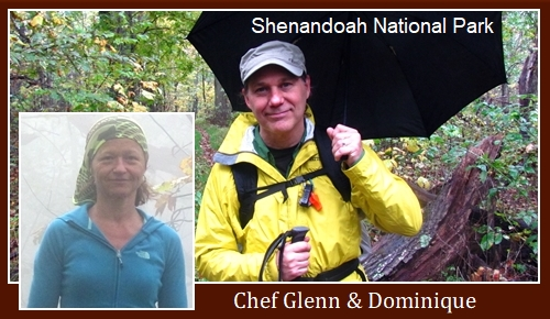 Chef Glenn and Dominique in Shenandoah National Park. Glenn wearing Marmot PreCip Rain Jacket.