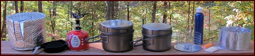 Backpacking pots and stoves used by Chef Glenn for hike in Shenandoah National Park.