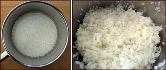 Sushi rice before and after cooking.