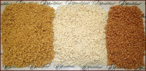 Rice was precooked in vegetable, chicken, and beef broth, then dehydrated.