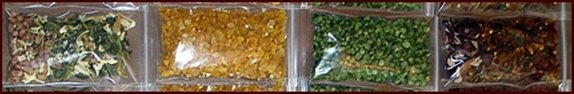 Dehydrated vegetables in single serving bags.