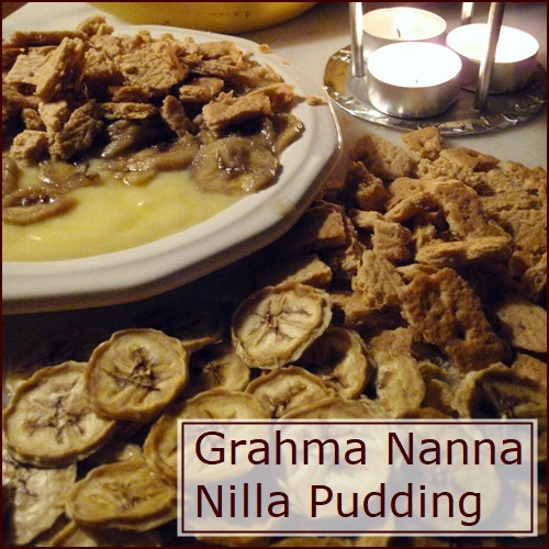 Grahma Nanna Nilla Pudding made with vanilla pudding, nuts, and dehydrated bananas.