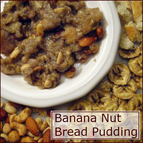 Banana Nut Bread Pudding made with dehydrated banana chips and breadcrumbs.