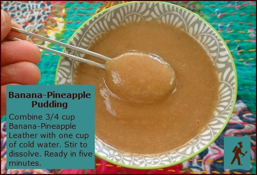 Banana-Pineapple Pudding rehydrated from dehydrated banana pineapple fruit leather.