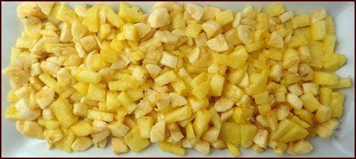 Pineapple and bananas ready to be blended and dehydrated into fruit leather.