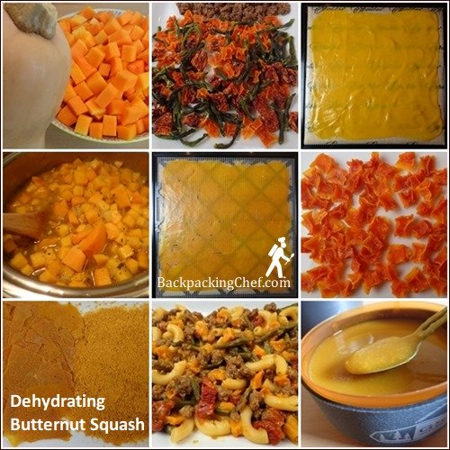 Dehydrating Butternut Squash for meals, soup, and pudding.