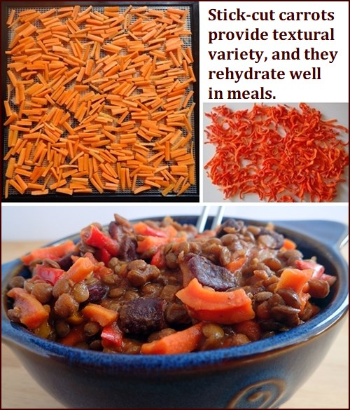 Dehydrating Carrots, stick cut. Photo shows dehydrated carrots in rehydrated lentil stew backpacking meal.