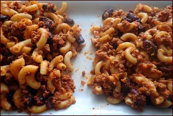 Dehydrated pasta in chili mac.