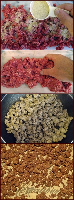 Dehydrating Ground Beef using the Breadcrumb Technique.