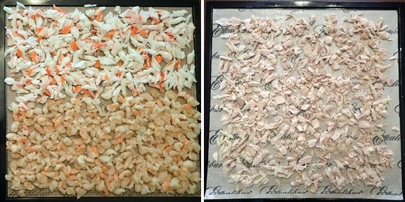 Dehydrating Meat: Seafood. Crab, Shrimp, and Tuna.