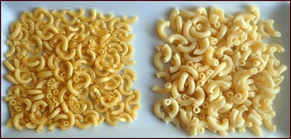 Dehydrated macaroni on left, rehydrated on right.