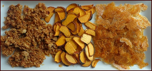 Dehydrating Peaches: (l to r) Peach Granola Clusters, Dried Sliced Peaches, Dehydrated Peach Leather.