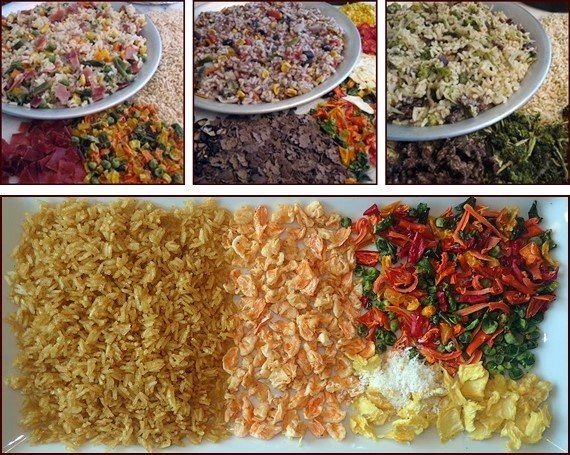 Dehydrating rice to use in backpacking meals.