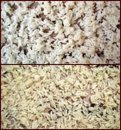 Dehydrating Rice: Before and after.