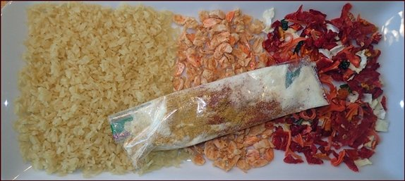Dehydrated Shrimp in a backpacking meal.
