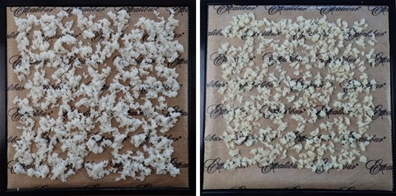 Dehydrating sushi rice before and after.