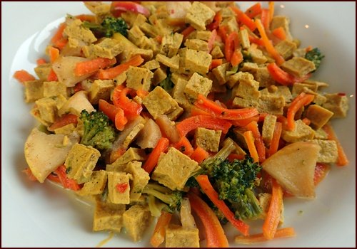 Dehydrated curry tofu and vegetables after being rehydrated.