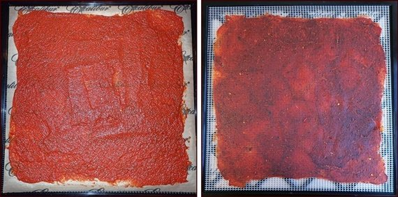 Dehydrating Tomato Sauce Leather Before and After.