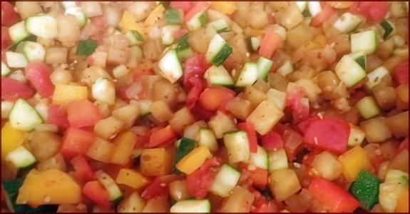 Vegetables prepared in ratatouille.