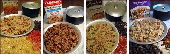 Easy Backpacking Meals: Spanish Rice, Red Beans & Rice, Couscous with Beef & Tomato, and Cheesy & Saucy Pasta.