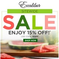 Excalibur Dehydrator Sale: 15% sitewide. Use code 15OFF. Sale ends June 7, 2020.