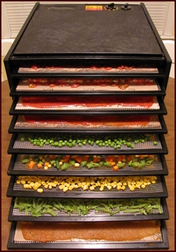9-tray Excalibur Dehydrator fully loaded with Vegetables and Sauces.