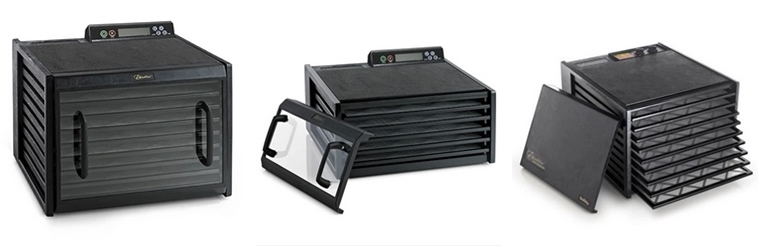 Food dehydrators from Excalibur have clear or solid doors, digital or manual controls, and 9 or 5 trays.