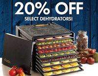 Excalibur Dehydrator Memorial Day Sale. 20% off select dehydrators. Sale ends May 25th.