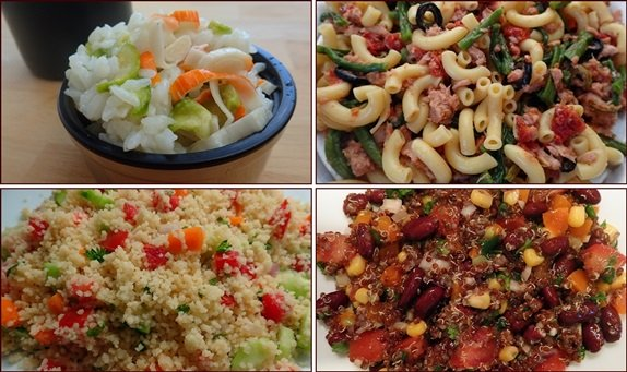 No-cook backpacking meals: rice salads, pasta salads, quinoa salads, couscous salads, and gazpacho.