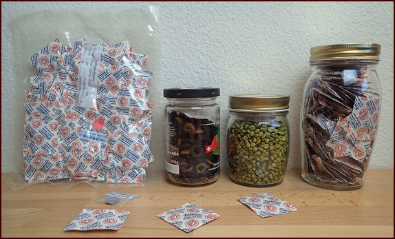 Storing dehydrated food in jars with oxygen absorbers.