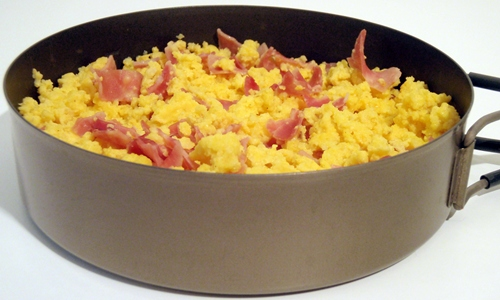 Backpacking Breakfast: Dehydrated Scrambled Eggs & Ham which have been rehydrated.