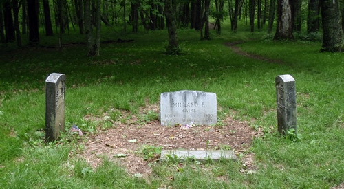 The gravestones of David and William Shelton and Millard Haire on the Appalachian Trail