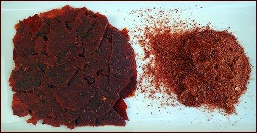 Tomato sauce leather on left, tomato powder on right.