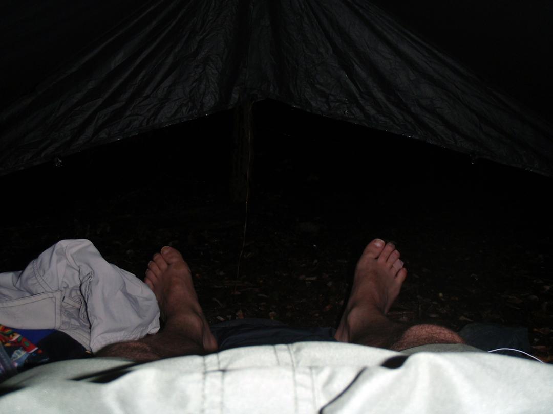 Stormy night under my tarp on the Appalachian Trail, near Erwin, TN