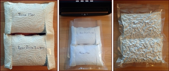 Two dehydrated meals fit nicely in an 8-inch wide vacuum seal bag.