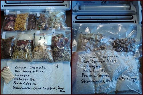 Vacuum Sealing Dehydrated Meals, Daily Rations in One Vacuum Seal Bag.